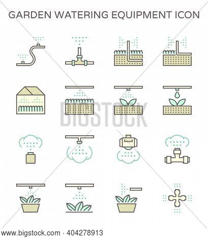 Garden Watering Equipment Icon. Consist Of Sprinkler Head, Nozzle Spray, Pipeline. Part Of Automatic