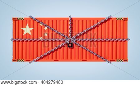 3d Rendering Of Cargo Container And China Business Lockdown Due To Epidemic Of Coronavirus (covid-19