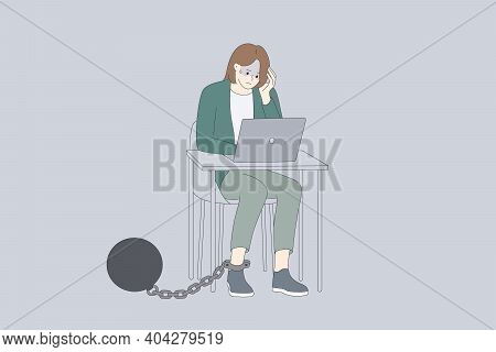 Debts And Bankrupt Concept. Young Depressed Woman Cartoon Character Sitting With Laptop And Kettlebe