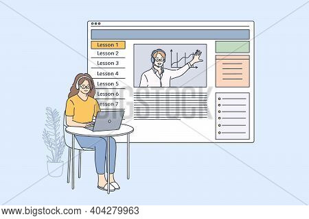 Elearning And Online Lesson Concept. Young Woman Cartoon Character In Headphones Sitting With Laptop