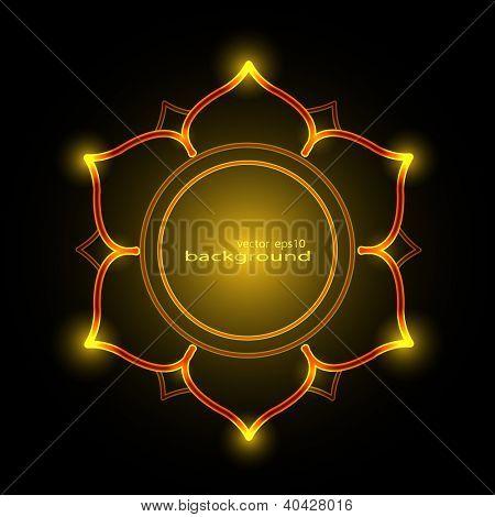Burning shiny lotus background vector