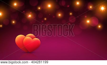 Magenta Bokeh Background For Valentines Day Greeting Card With Red Hearts, Gold Lights. Happy Valent