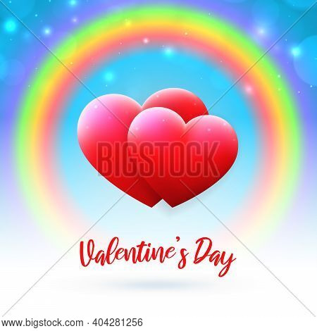 Valentine's Day Lgbt Card. Red Hearts On Pastel Blue Background With Rainbow And Bokeh. Happy Valent