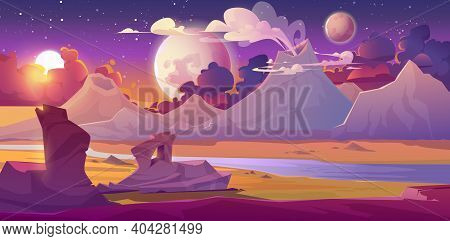Alien Planet Landscape With Volcano, River, Stars And Moons In Sky. Vector Fantasy Illustration Of P