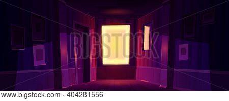 Home Dark Corridor With Sunlight From Window At Morning Or Evening. Vector Cartoon Illustration Of E