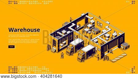 Warehouse Banner. Logistic Infrastructure For Storage, Distribution And Delivery Cargo From Factory,