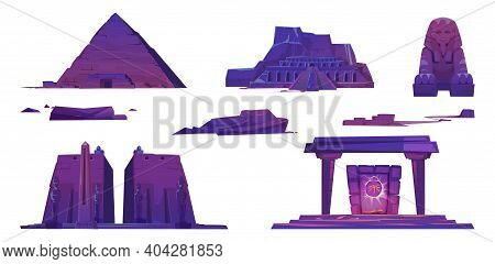 Ancient Egypt Landmarks, Pyramids, Pharaoh Temples, Sphinx And Mystic Portal With Scarab Sign. Vecto