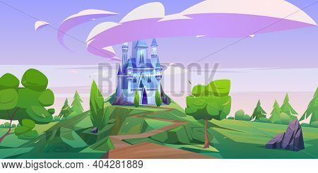 Cartoon Castle, Magic Fairy Tale Palace With Turrets. Fantasy Fortress Stand On Mountain Top With Ro