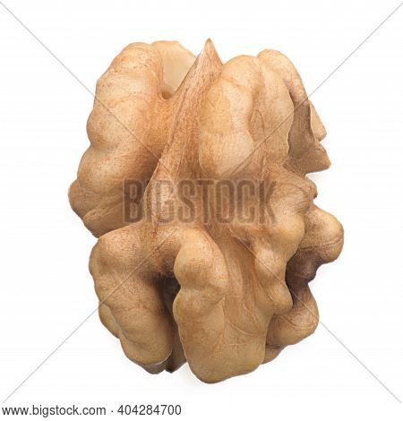 Purified, Nourishing The Kernel Of A Walnut On A White Isolated Background, Macro