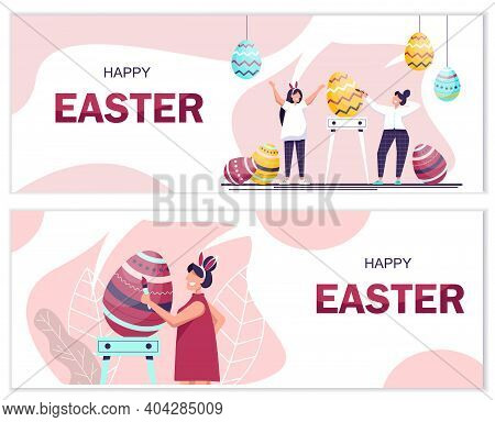 Set of Happy Easter banner vector illustration. People celebrate Easter and paint eggs. Happy easter background, easter design. Happy Easter, easter bunny, easter