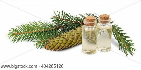 Spruce Essential Oil In Bottle And Fir Branches Isolated On White Background