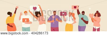 People Holding Likes. Satisfied Customers And Followers On Social Media. Positive Feedback. Vector I