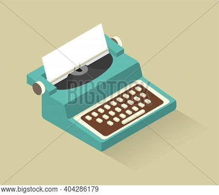 Vector Isometric Aquamarine Typewriter With White Buttons Made In Soft Retro Colors.