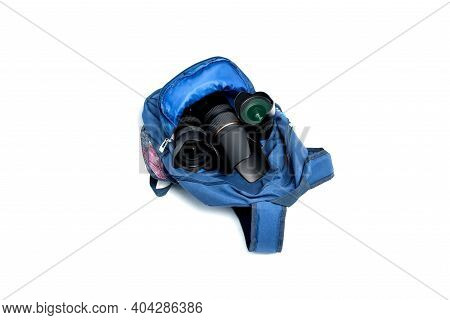 Blue Backpack Photographer\'s Equipment , Isolated On White Background.