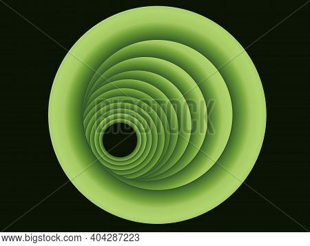 Abstract Pattern In The Form Of Eccentric Volumetric Circles Of Green Tones, Located In Space In The