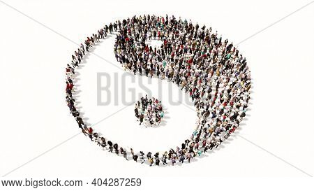 Concept or conceptual large gathering of people forming the image of the chinese symbol of Yin-Yang as opposing and complementary forces. A 3d illustration metaphor for taoism, meditation and balance