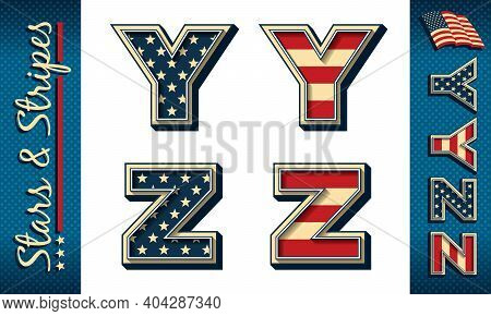 Letters Y And Z. Stylized Vector Initials With Usa Flag Elements And Colors, Isolated On White, With