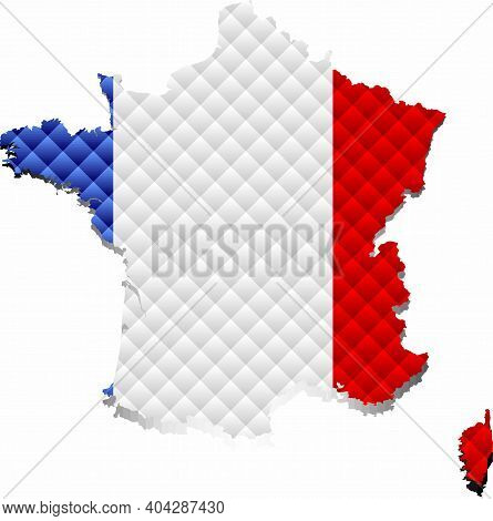Mosaic Map Of The France - Illustration,  Three Dimensional Map Of France