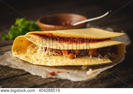 Tortilla Wraps Sandwiches With Fresh Vegetables, Minced Meat And On Wooden Background. Burrito, Sand