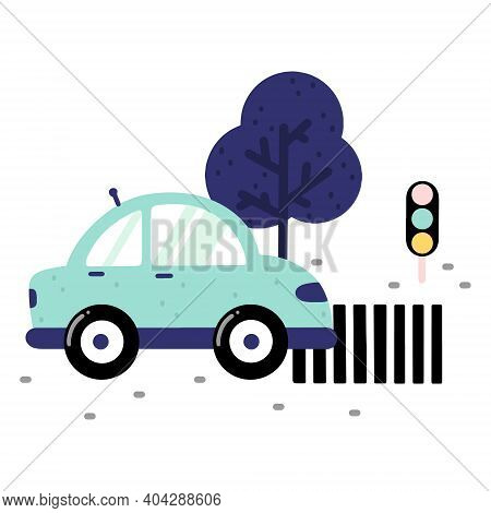 Childish Car Illustration On A Road With Crosswalk, Traffic Lights And Trees Isolated On White Backg