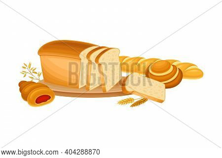 Sliced Loaf Of Bread On Cutting Board With Ear Of Wheat And Sweet Buns Vector Composition