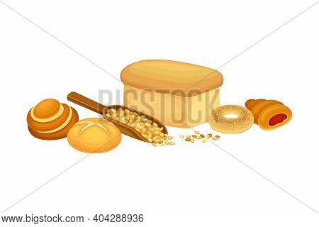 Loaf Of Bread And Cereals In Scoop Vector Composition