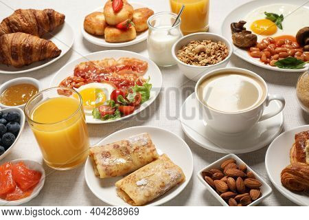Buffet Service. Tasty Breakfast Served On Table