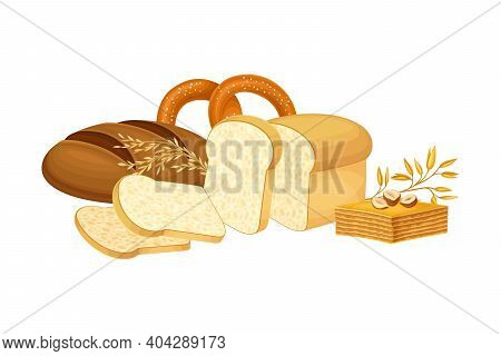 Loaves Of Bread And Sweet Wheat Pastry Vector Composition