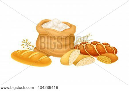 Flour Sack And Sweet Pastry And Bread Loaf Vector Composition