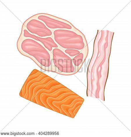 Ham, Bacon And Salmon Fish Slices As Breakfast Ingredients Vector Illustration