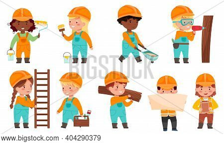 Little Builders Wearing Hard Hat With Construction Tools Executing Work Vector Set