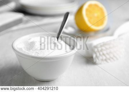 Bowl Of Baking Soda On White Table, Space For Text