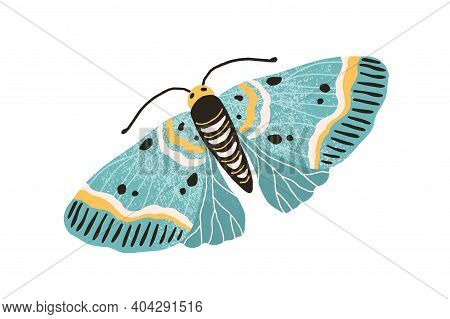 Hand Drawn Colored Elegant Flying Moth. Gorgeous And Beautiful Butterfly With Pastel Wings And Anten