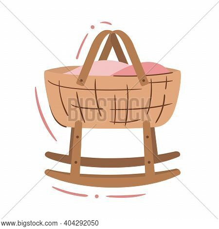 Baby Cradle Basket, Rocking Bassinet On Runners - Isolated Vector Illustration. Cute Doodle For Baby