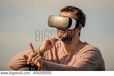 Cyber Space. Game Online. Virtual Reality Goggles. Digital Future And Innovation. Virtual Reality. M