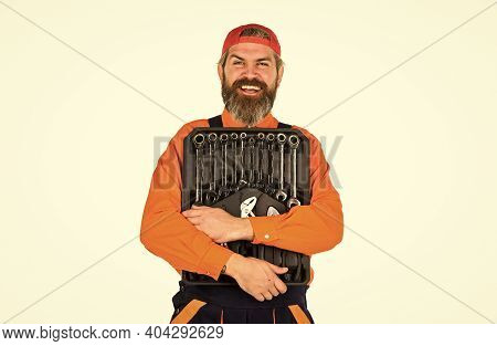 Handyman Concept. Professional Equipment. Toolbox Talk. Worker Repairer Repairman Handyman Carrying