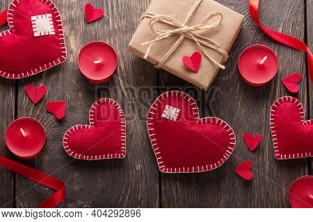 Valentine's Day Card. Hearts, Boxes And Ribbons On A Background Of Boards. Top View