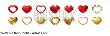 Big Valentines Day Set Of Different Realistic Gold, Red Hearts Isolated On White Background. Happy V