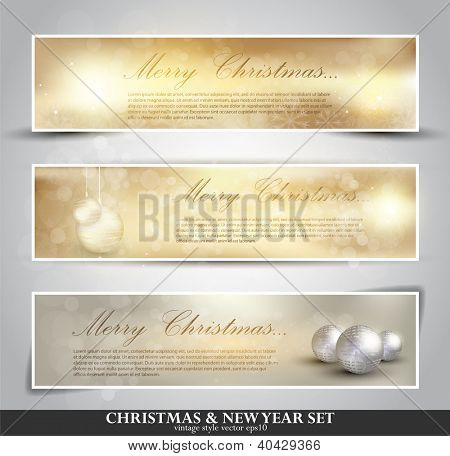 set of three seasonal bokeh banners with snowflakes in gold background (separately grouped). Winter Lights. Elegant Christmas background with snowflakes and place for text.
