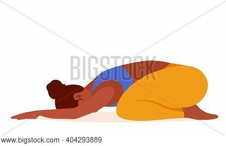 Yoga Cartoon Girl Illustration, Stretching Child Pose - Vector Illustration Graphic Design