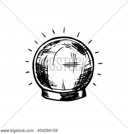Magic Witch Ball Predicting Fate. Equipment For Witchcraft And Divination. Hand Drawn Black Doodle S