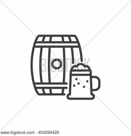 Beer Cask And Glass Line Icon. Linear Style Sign For Mobile Concept And Web Design. Beer Mug And Bar