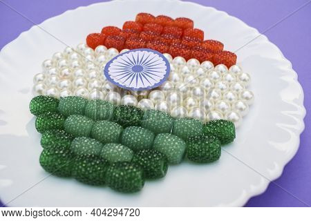 Jewelry Beads Ruby Emerald Colored Represented Indian Flag For Indian Republic Day Celebration On 26
