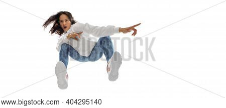 Pointing, Flyer. Young Stylish Woman In Modern Street Style Outfit Isolated On White Background, Sho