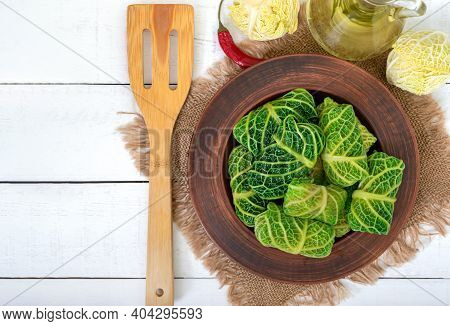 Savoy Cabbage Dolma In A Ceramic Bowl. Ducan's Diet. Proper Nutrition. The Top View