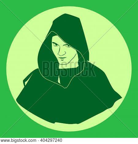 Silhouette Of A Monk. Religion. Vector Illustration.