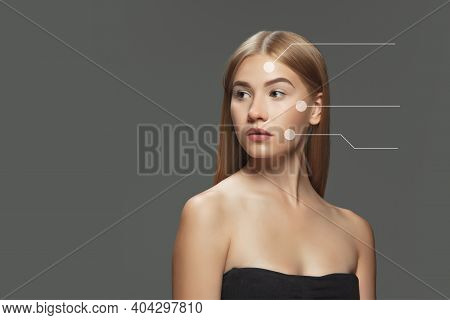 Beautiful Female Face With Lifting Up Arrows Isolated On Grey Background. Concept Of Bodycare, Cosme
