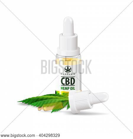 Glass Transperent Bottle Of Medical Cbd Oil And Hemp Leaf With Pipette Isolated On White Background.