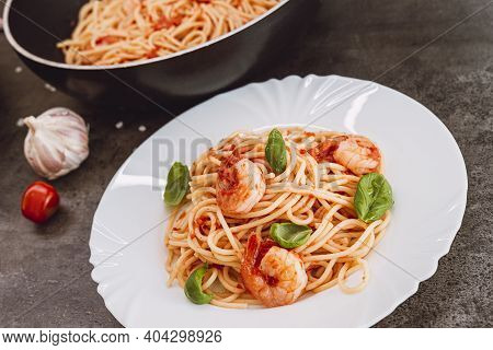 Spaghetti With Tomato Sauce, Basil And Shrimps. Italian Cuisine. Fresh Healthy Light Main Course, Se