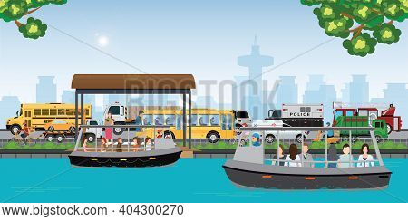 People Travel By Public Boat To Avoid Heavy Traffic During Rush Hours, Transportation Vector Illustr